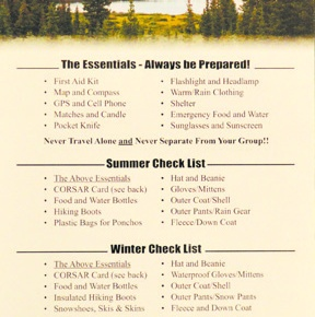 Backcountry Safety Card designed to assist inrescues