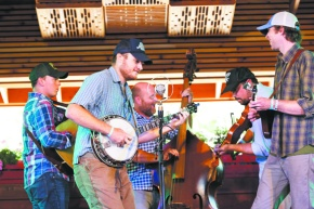 Talented  bluegrass  band at home inColorado