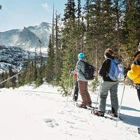 Winter ecology snowshoe hike offered by Rocky Mountain Conservancy