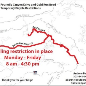 Cycling restrictions in Fourmile Canyon begin April4
